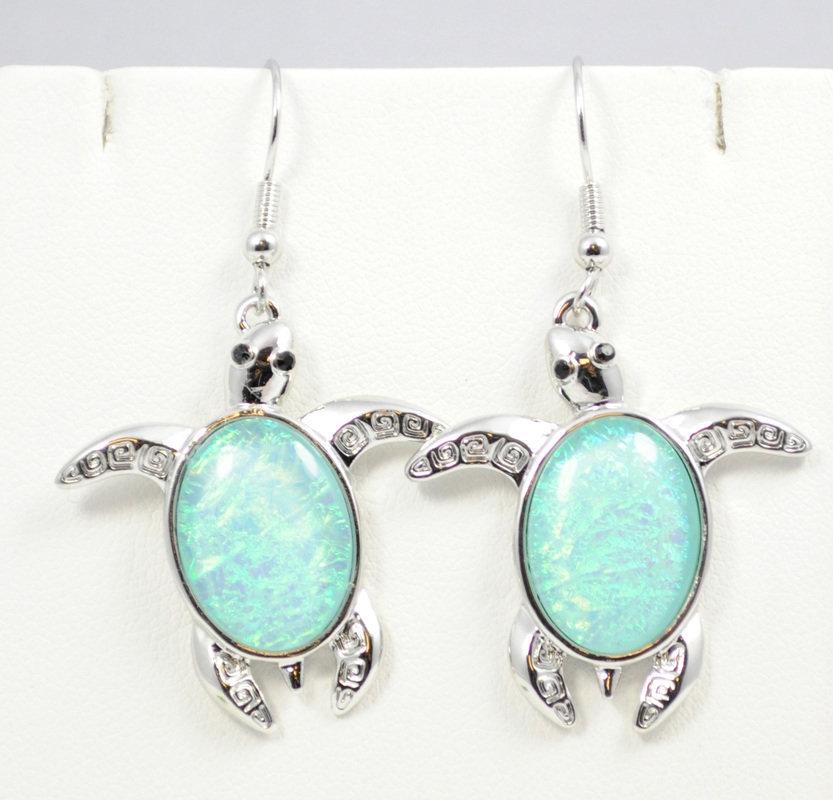 Sea Turtle Light Blue Earrings STE-62-LBU-1