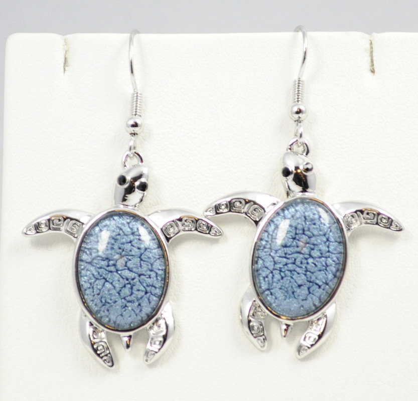 Sea Turtle Dark Blue Earrings STE-61-DBU