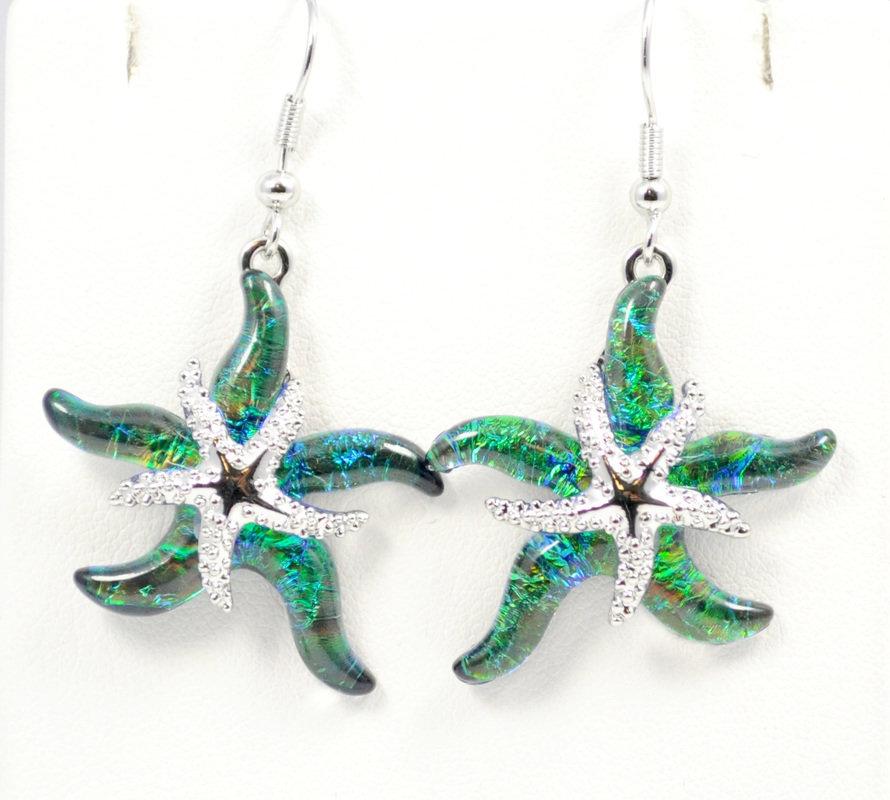Starfish Green Earrings STE-113-G