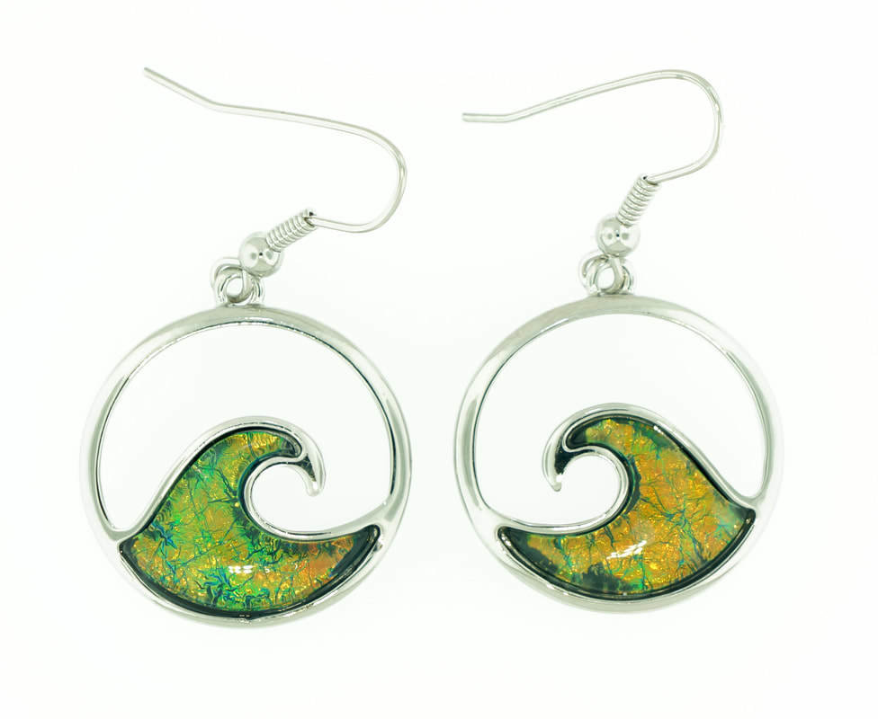 Wave Green Earrings STE-73-G