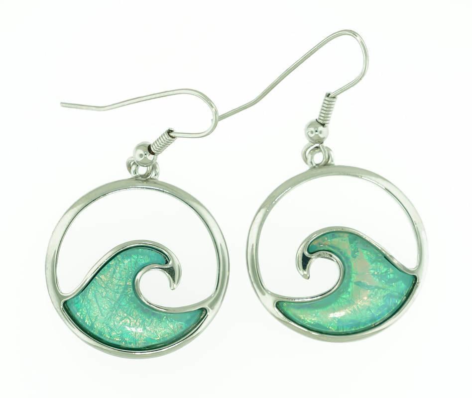 Wave of Tropical Sea Water Earrings STE-73-LBU