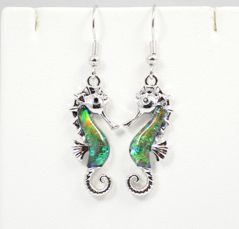 Sea Horse in Dark Ocean Green Earrings