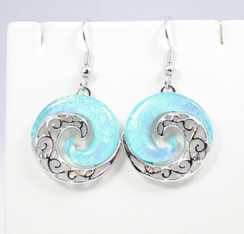 Wave Light Blue YinYang Earrings STE-62-LBU