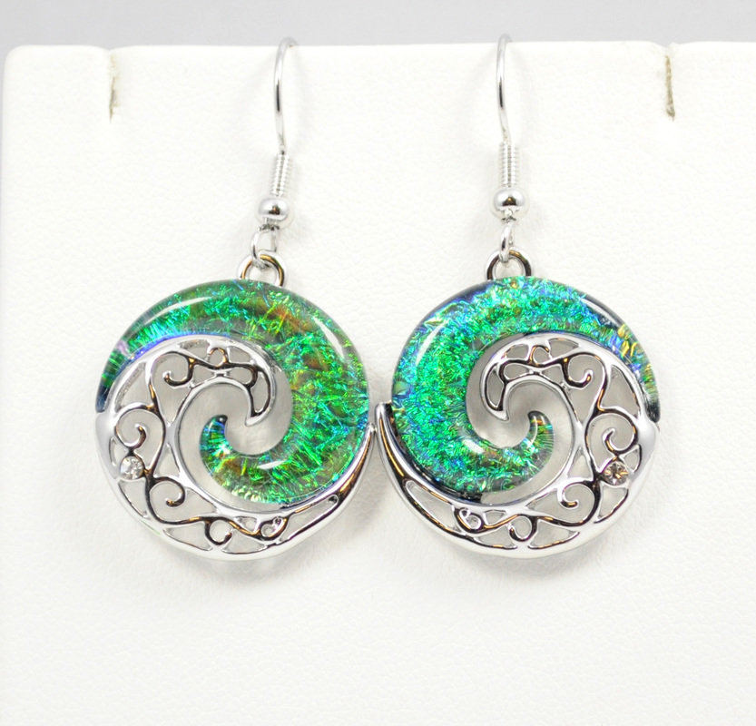 Wave Dark Ocean Green YinYang Earrings STE-62-G
