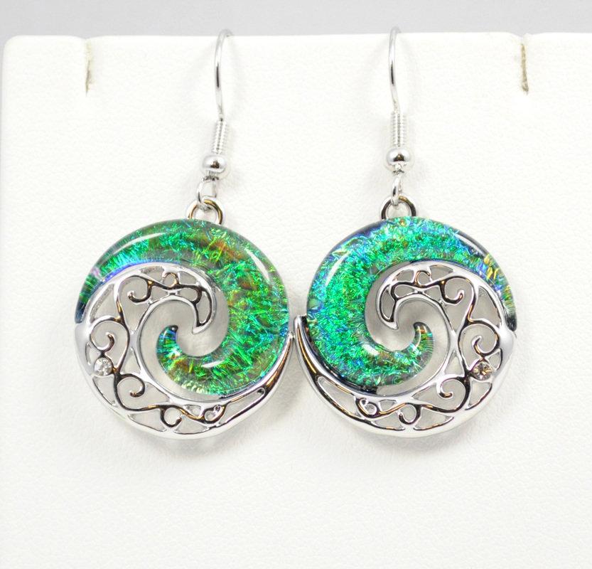 Wave Dark Ocean Green YinYang Earrings