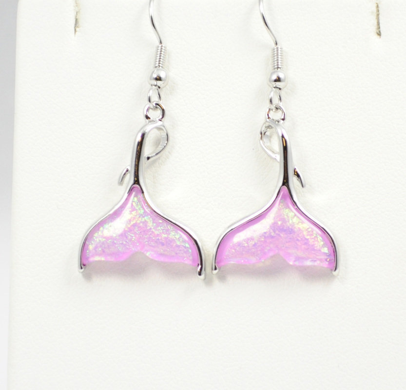 Mermaids Tail Beach Pink Earrings STE-63Q-P