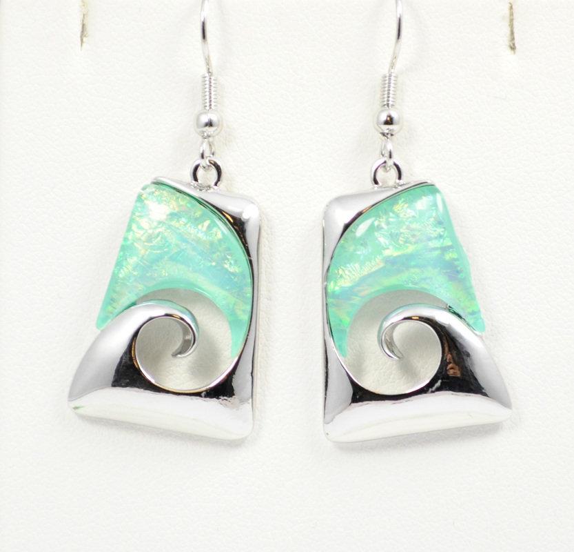 Wave Abstract Design in Light Ocean Blue Earrings STE-58-LBU
