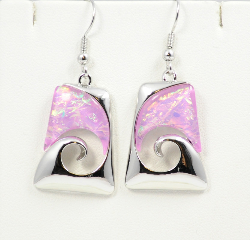 Wave Beach Pink Abstract Design Earrings STE-58-P