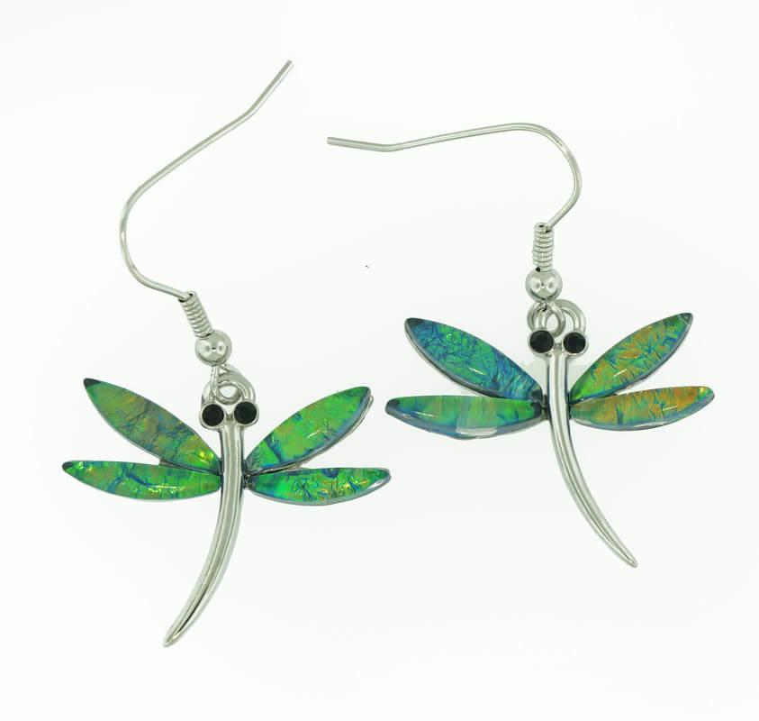 Dragon Fly in Dark Green Earrings