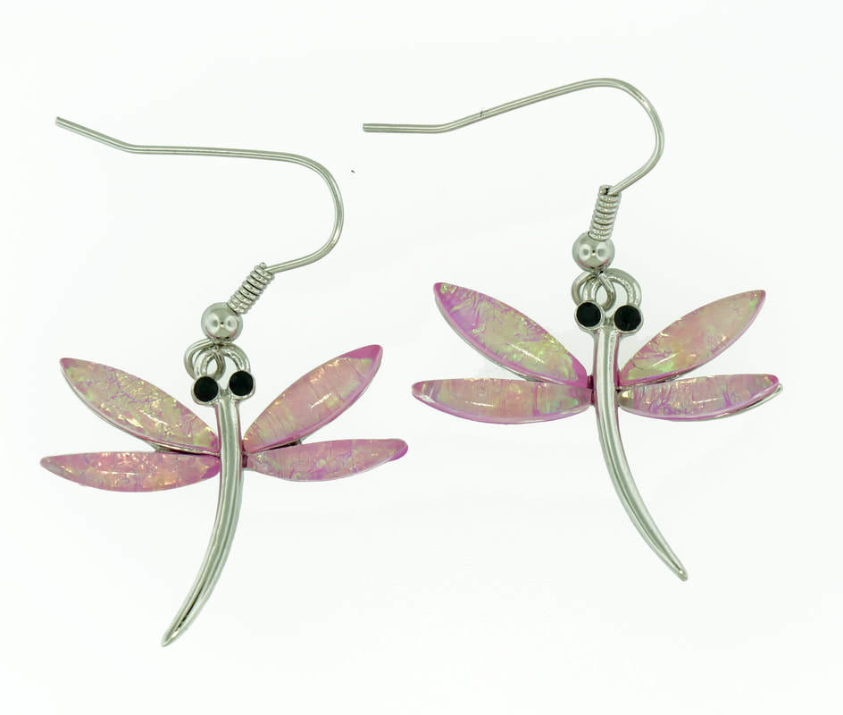Dragon Fly Flower Pink Earrings
