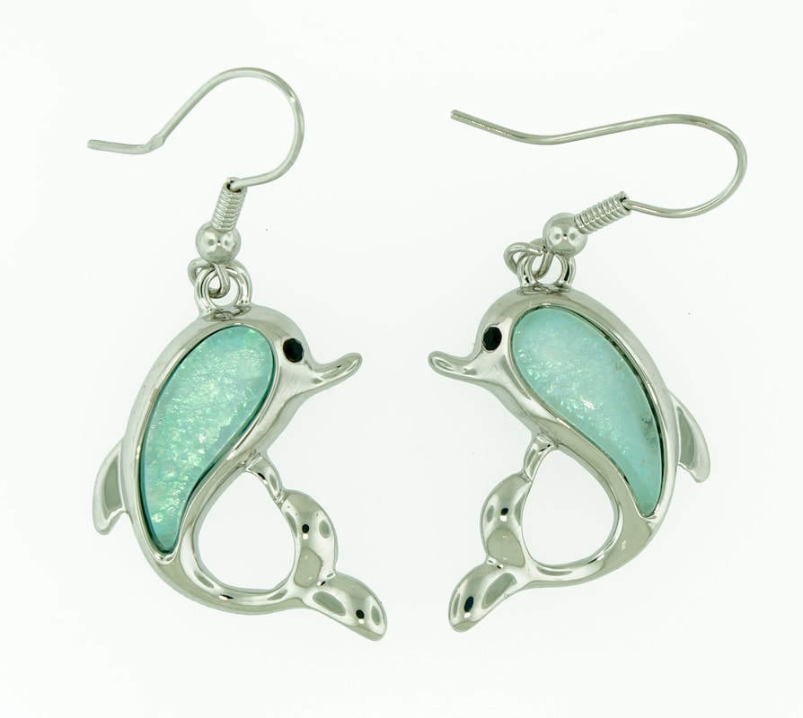 Dolphin in Tropical Ocean Light Blue Earrings