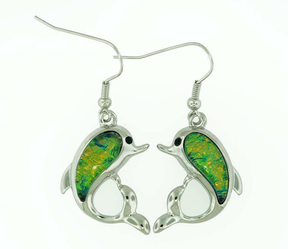 Dolphin Dark Green Earrings STE-87-G