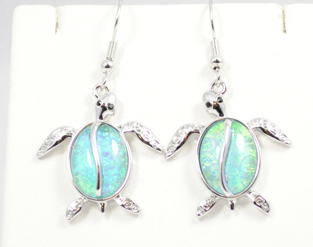 Sea Turtle Light Ocean Blue Earrings STE-61-LBU