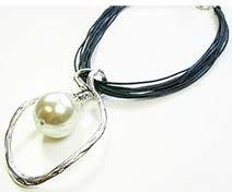 Leather Necklace With Oval/Pearl Pendant JNL-005-6383