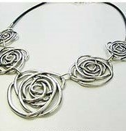 Black Leather with Roses Necklace