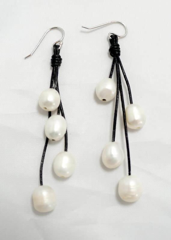 Black Leather with White Fresh Water Pearl Earrings PLE-2-B/W