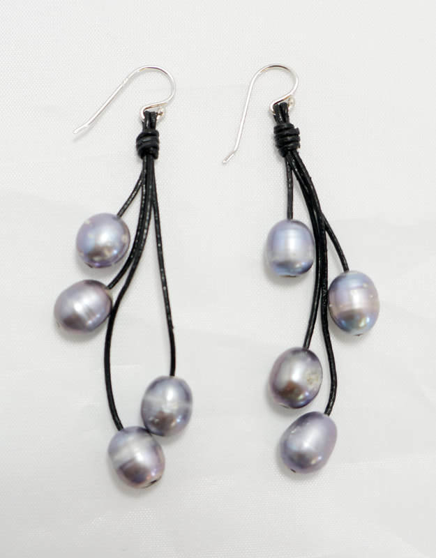 Black Leather with Gray Fresh Water Pearl Earrings