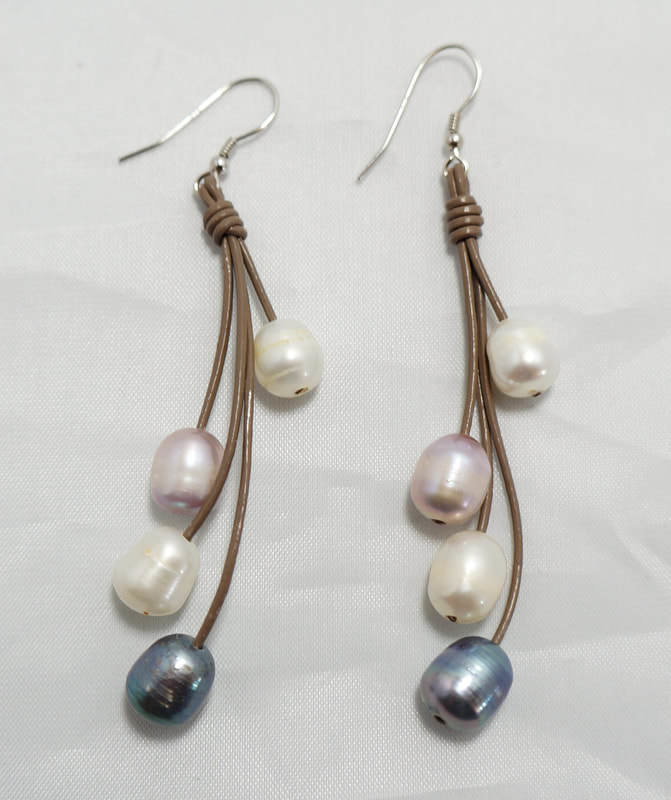 Tan Leather With Multi-Color Fresh Water Pearls PLE-2 T/M