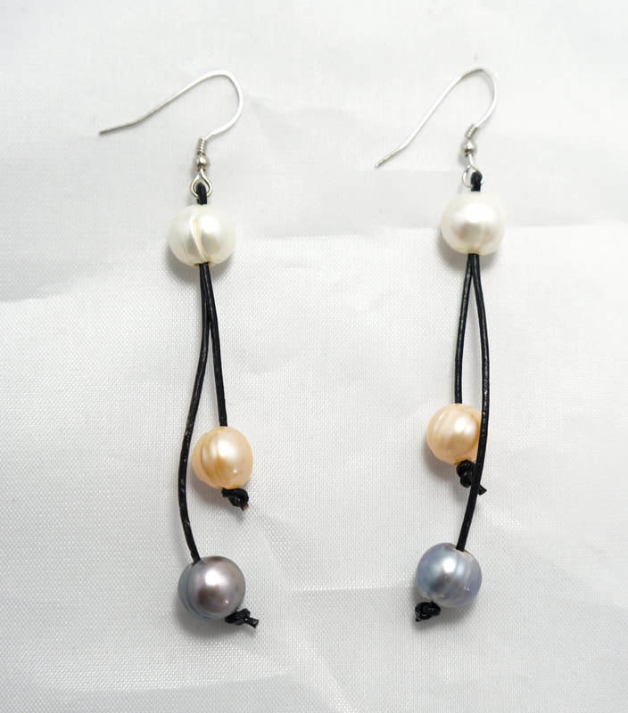 Black Leather with Two Multi Color Pearl Earrings PLE-1-B/M