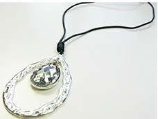 Leather Necklace with EX Teardrop JNL 005-6384