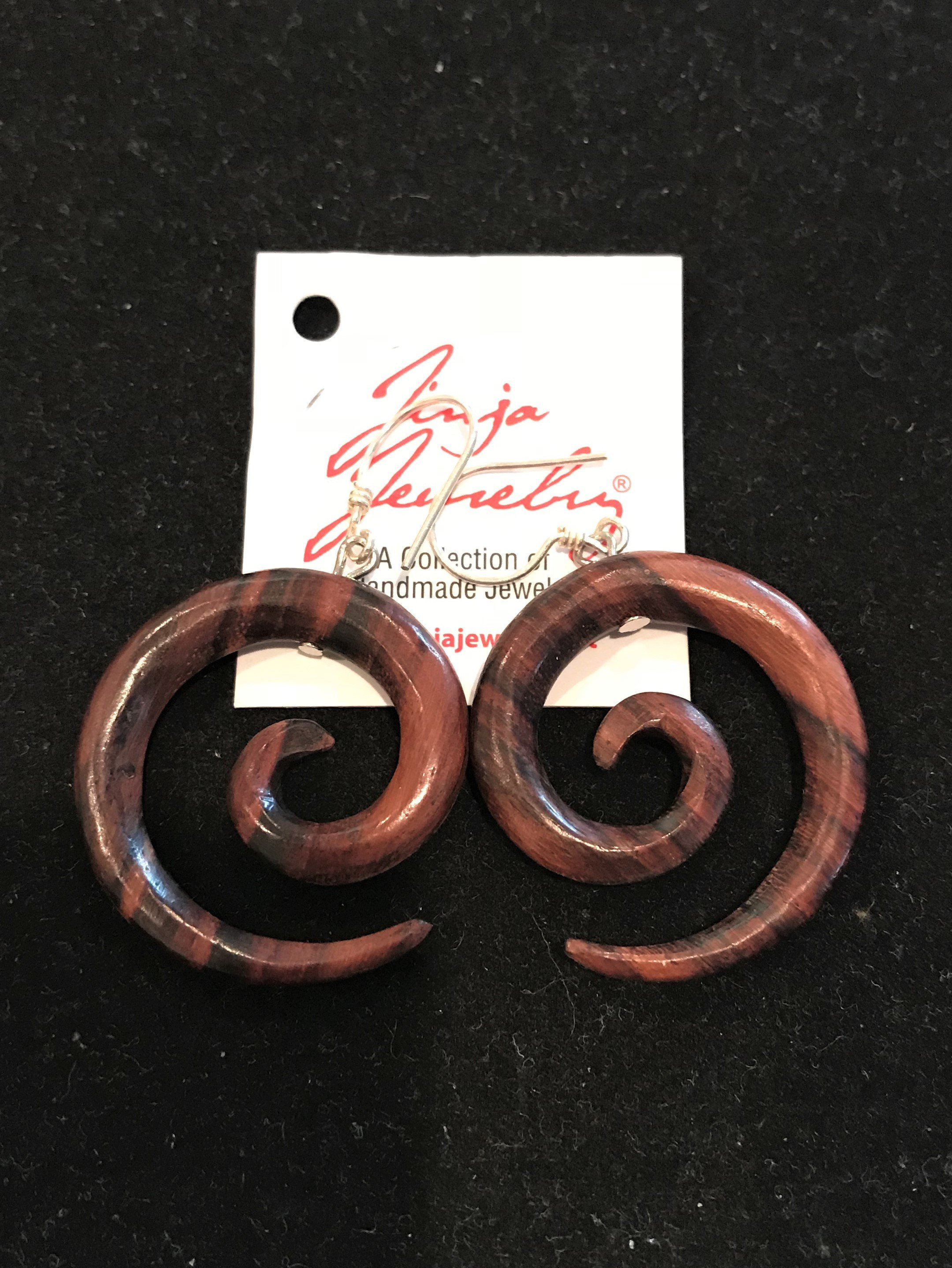 Sono Wood Spiral Earrings ER-1385