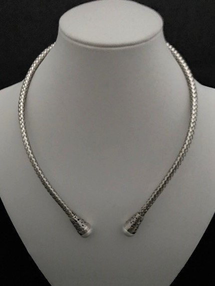 Sterling Silver Adjustable Necklace with Pearls AKL-800