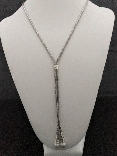Sterling Silver Lariat Mabe Pearl Necklace AKL-815