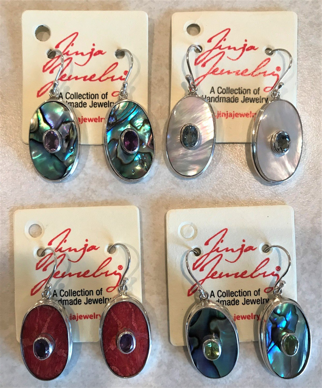 Sterling Silver Ovals With Gemstones Red Coral Abalone or Mother of Pearl