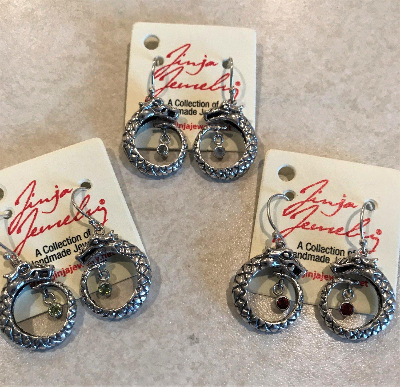 Sterling Silver Dragon Stone Earrings