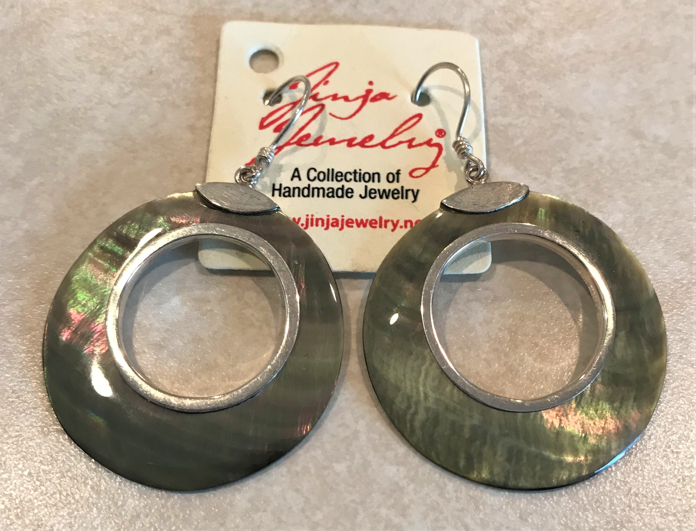 SterlingSilver Gray Mother of Pearl Open Earrings ER-09122-Gray