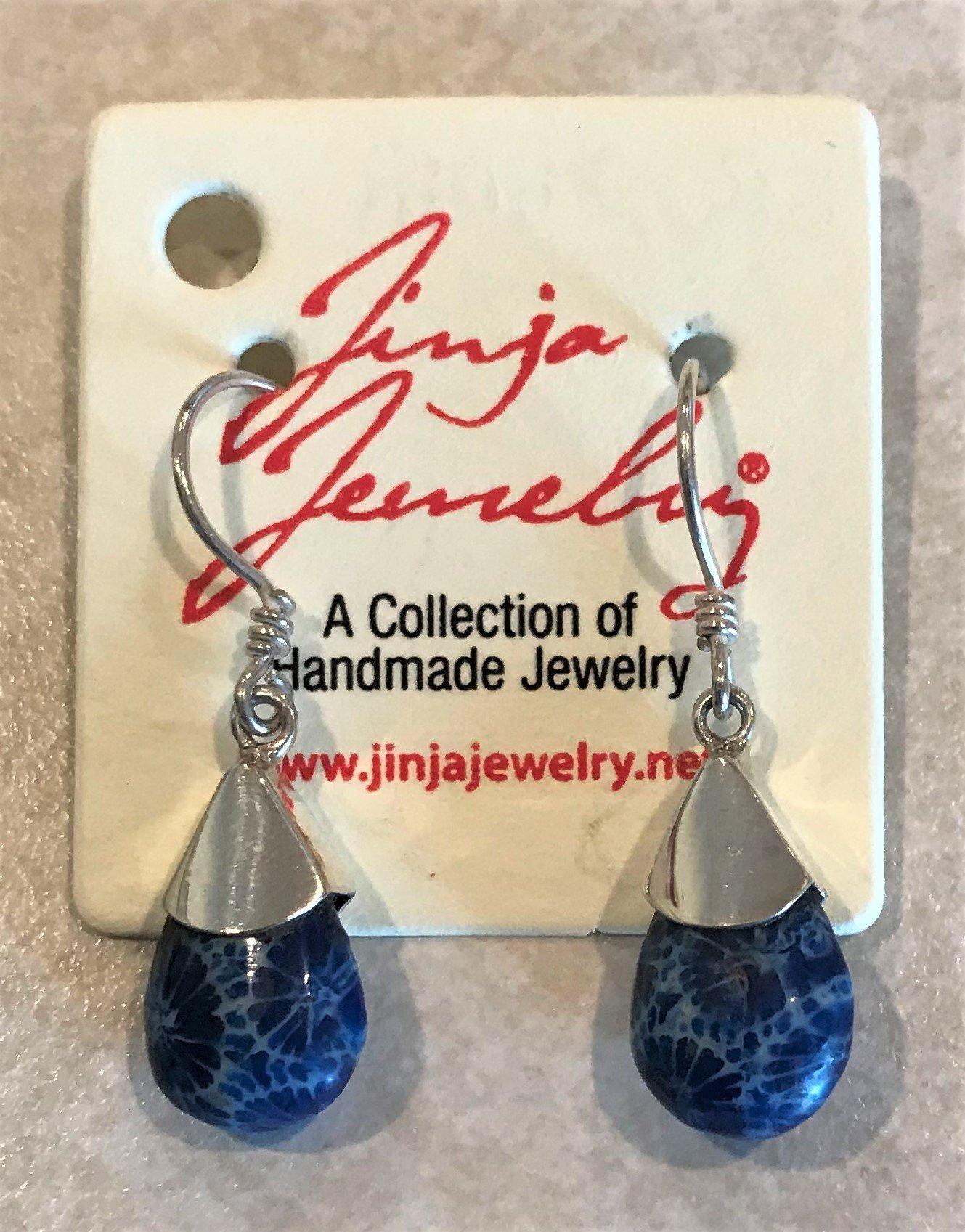 Blue Coral Small Teardrop Earrings ER-09101A Blue