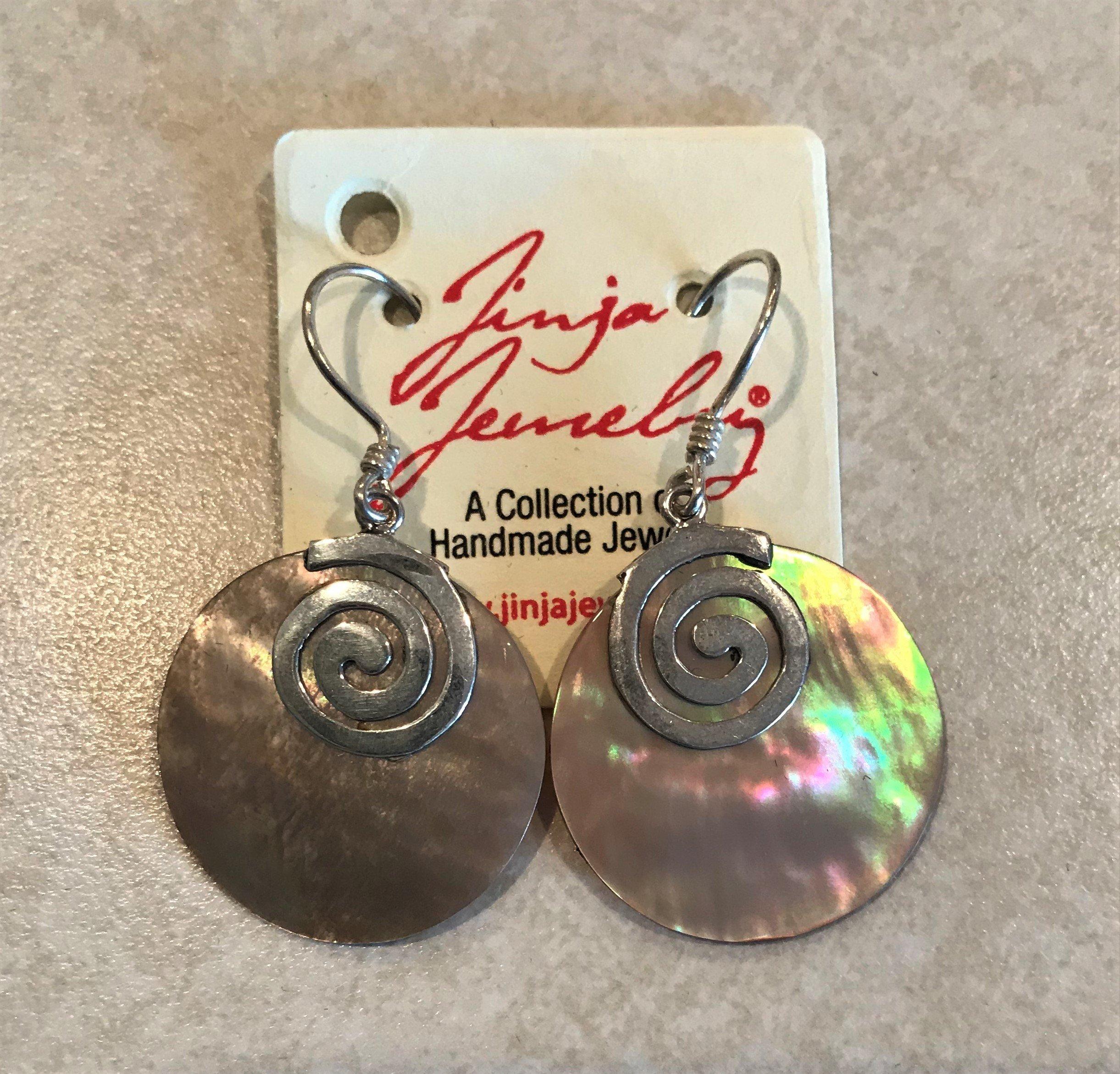 Brown Mother Of Pearl Swirl Earrings ER-09078 Brn