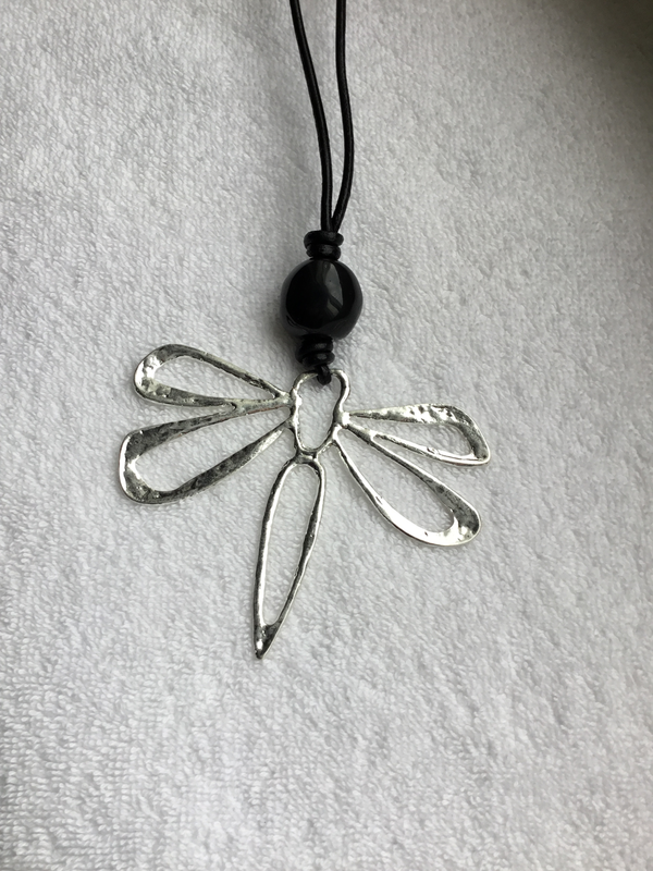 Dragonfly Metal Leather Long Necklace