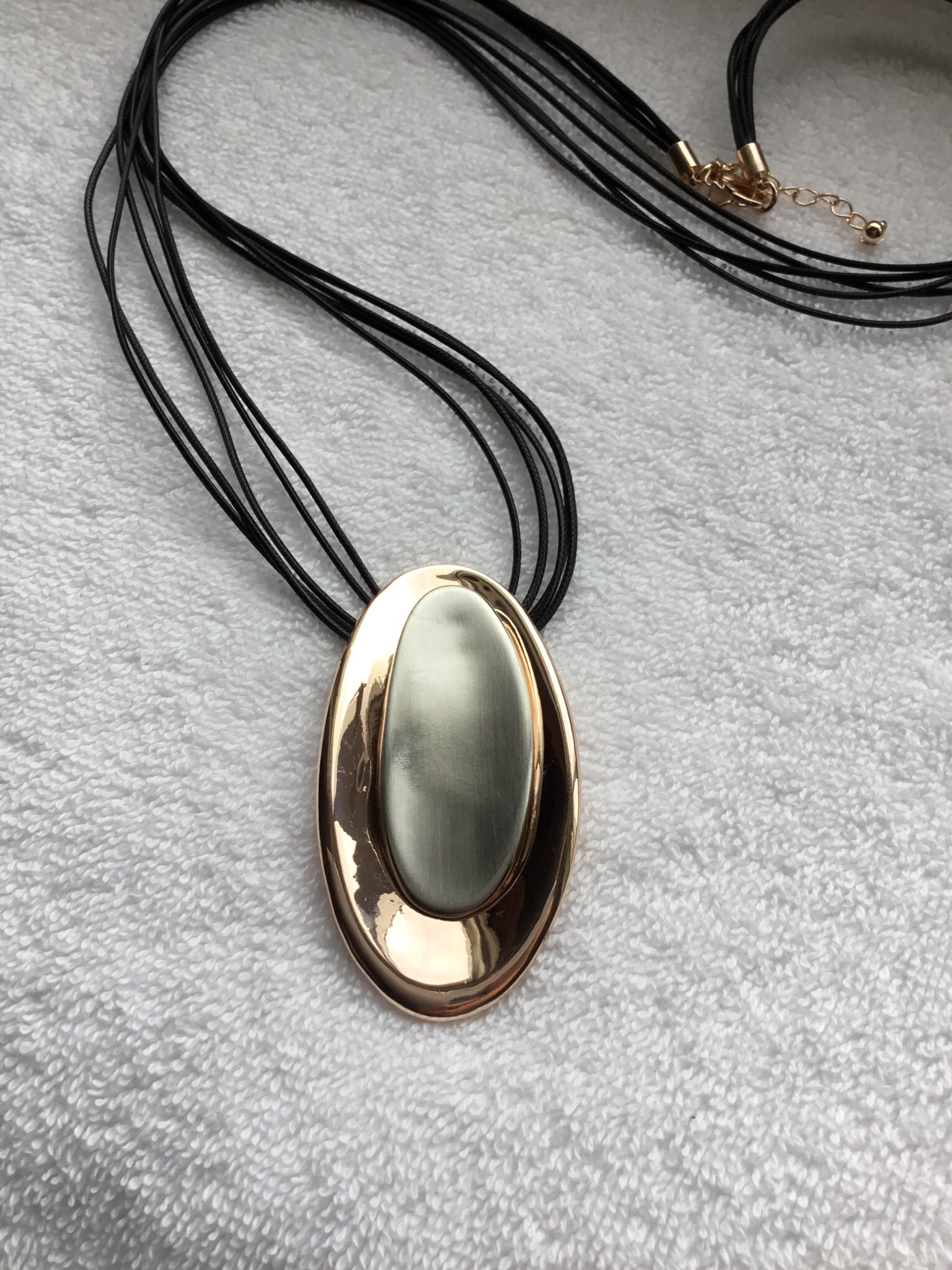 Oval Rose Gold and Metal Necklace  JNL-072-7048