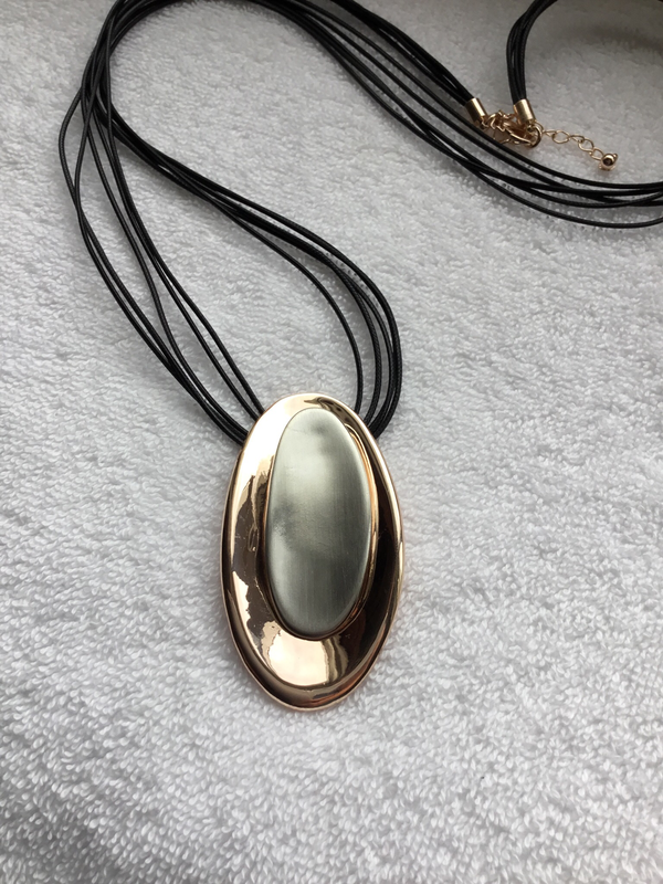 Oval Rose Gold and Metal Necklace