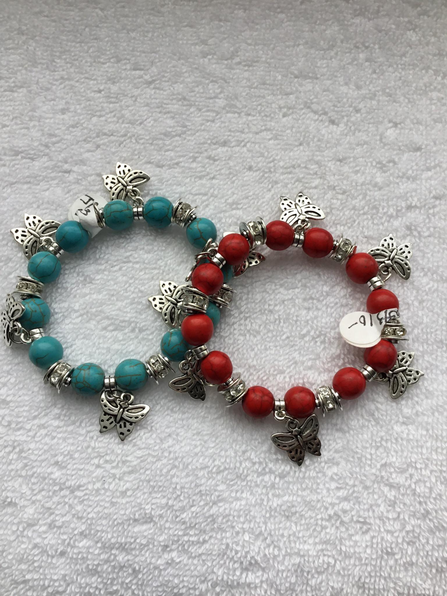 Butterfly Charm Bead Bracelet  JBR-015-6593