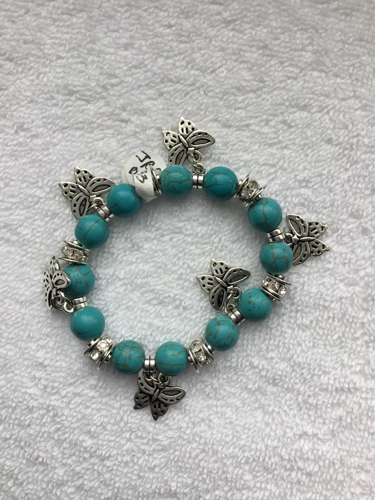 Butterfly Charm Bead Bracelet