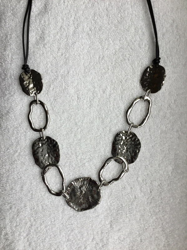 Leather Reversible Necklace with Lily Pad Design
