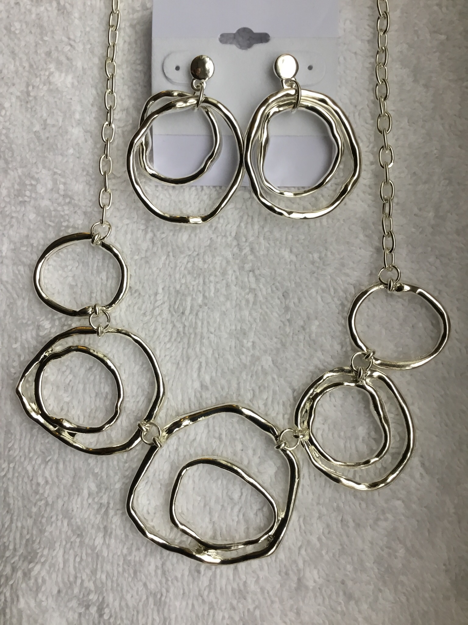 Silver Circles Short Necklace Set JNL-011-6922