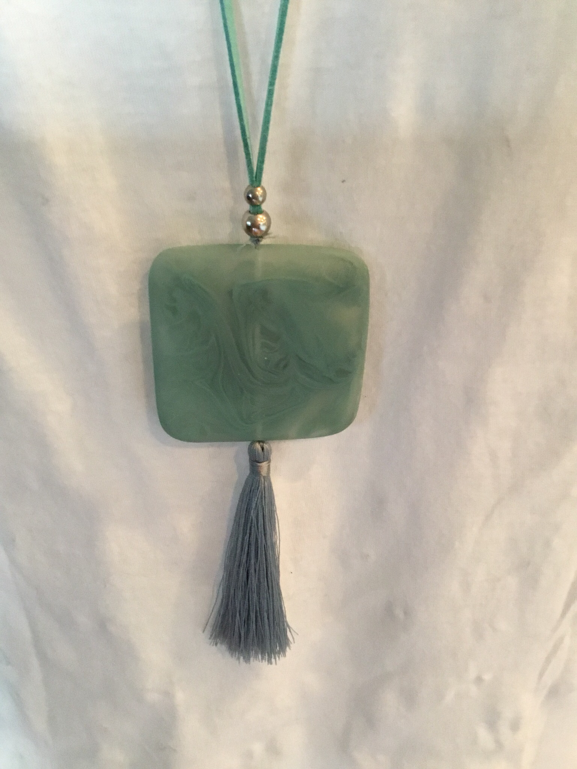 Leather Turquoise Smoked Mint Pendant and Tassel