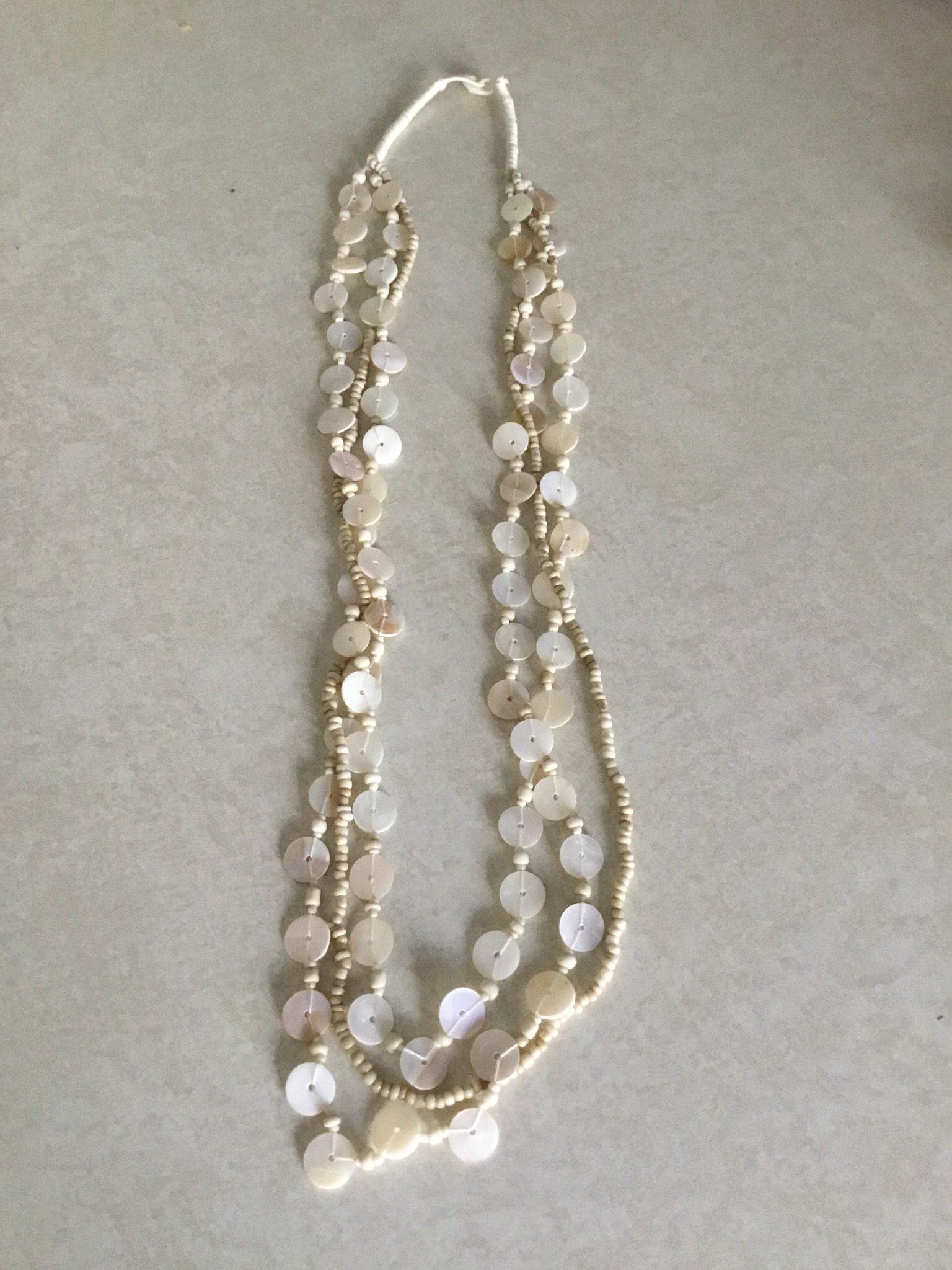 Tan Shell  Beaded Necklace 1244