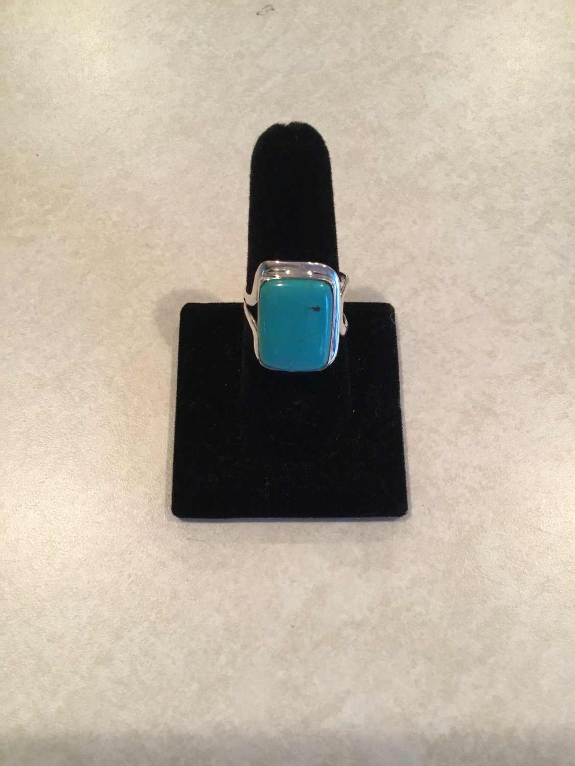 Sterling Silver Handmade Rectangle Blue Turquoise Ring