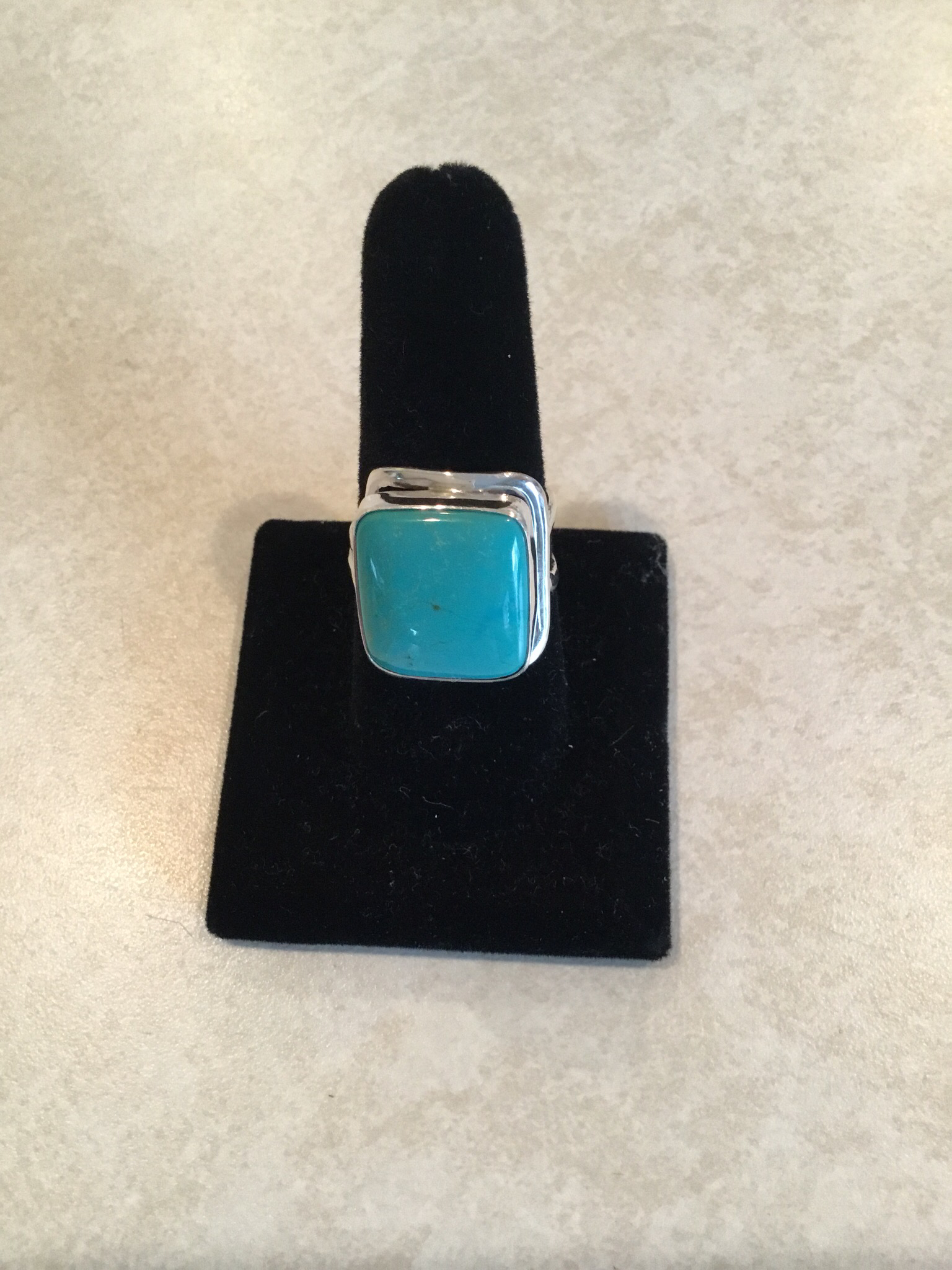 Sterling Silver Square Blue Turquoise Ring ACC-TURQ-5