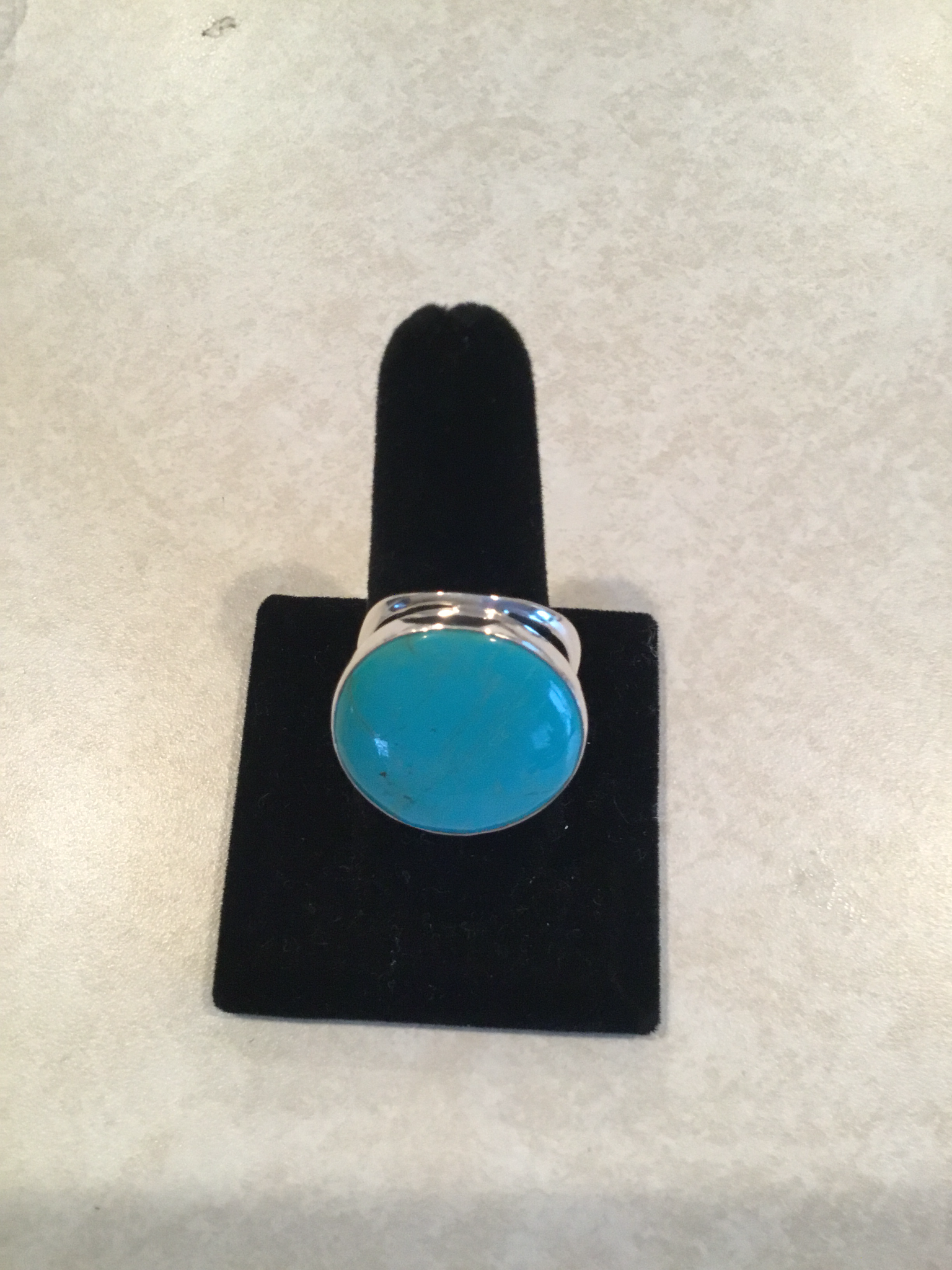Sterling Silver Large Round Handmade Adjustable Turquoise Ring ACC-Turq-8