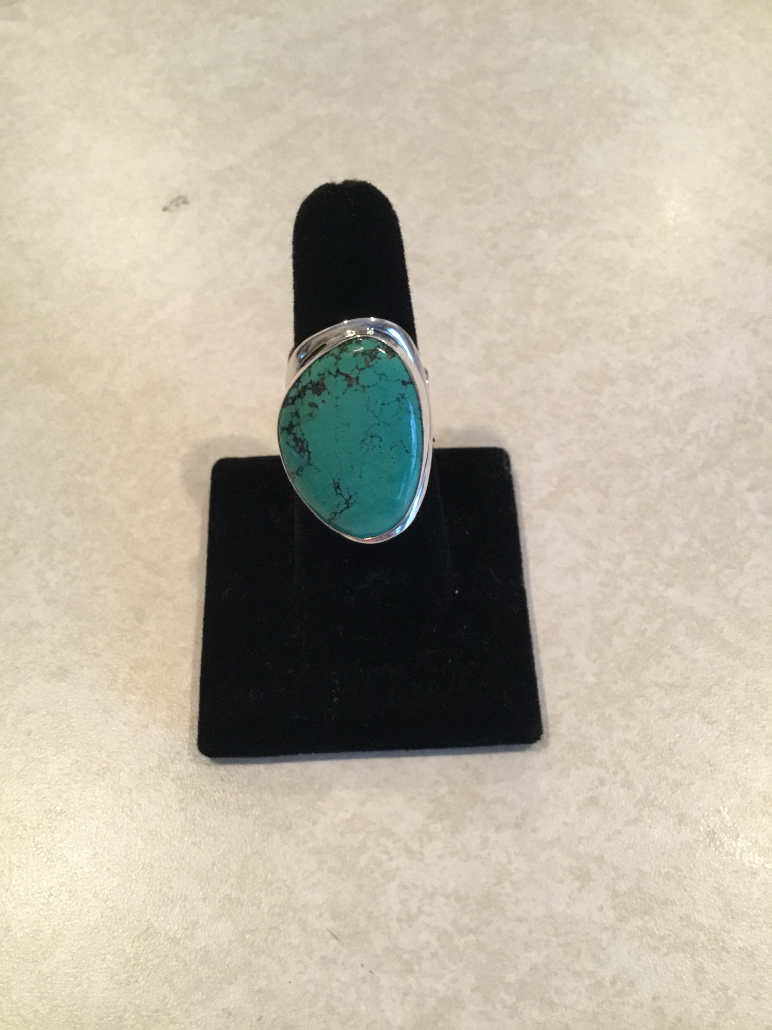 Sterling Silver Large Handmade Abstract Turquoise Ring ACC-Turq-7