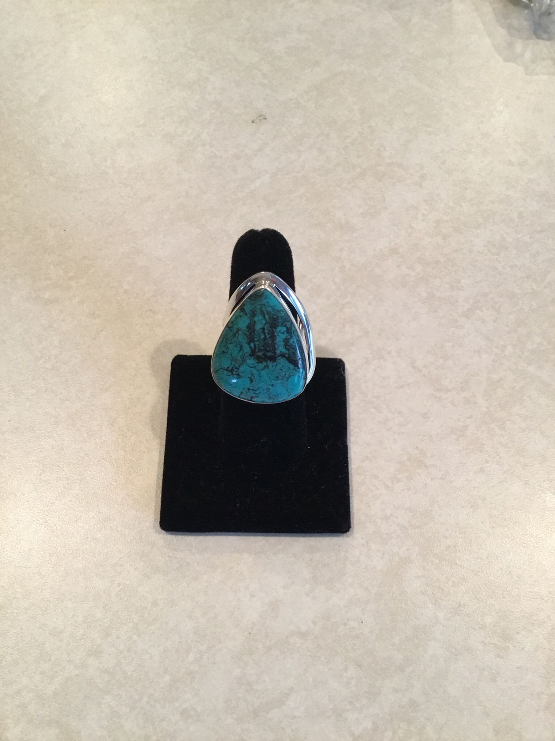 Sterling Silver Large Handmade Teardrop Blue Turquoise Ring.