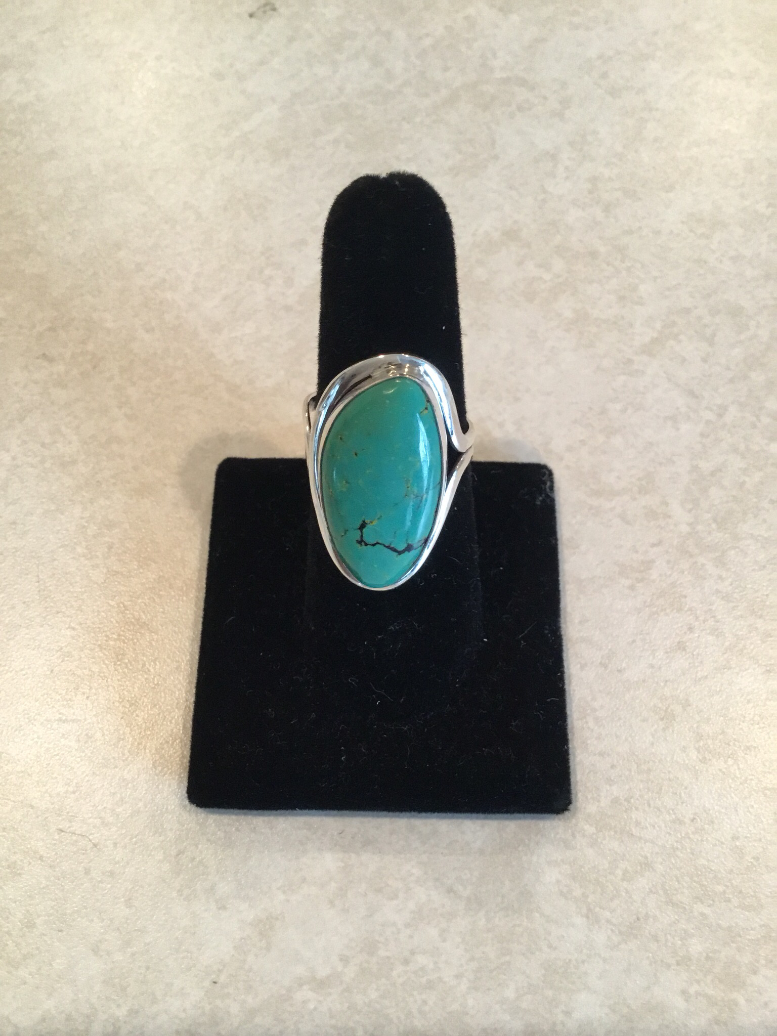 Sterling Silver Oval Angle Blue Turquoise Ring ACC-Turq-4