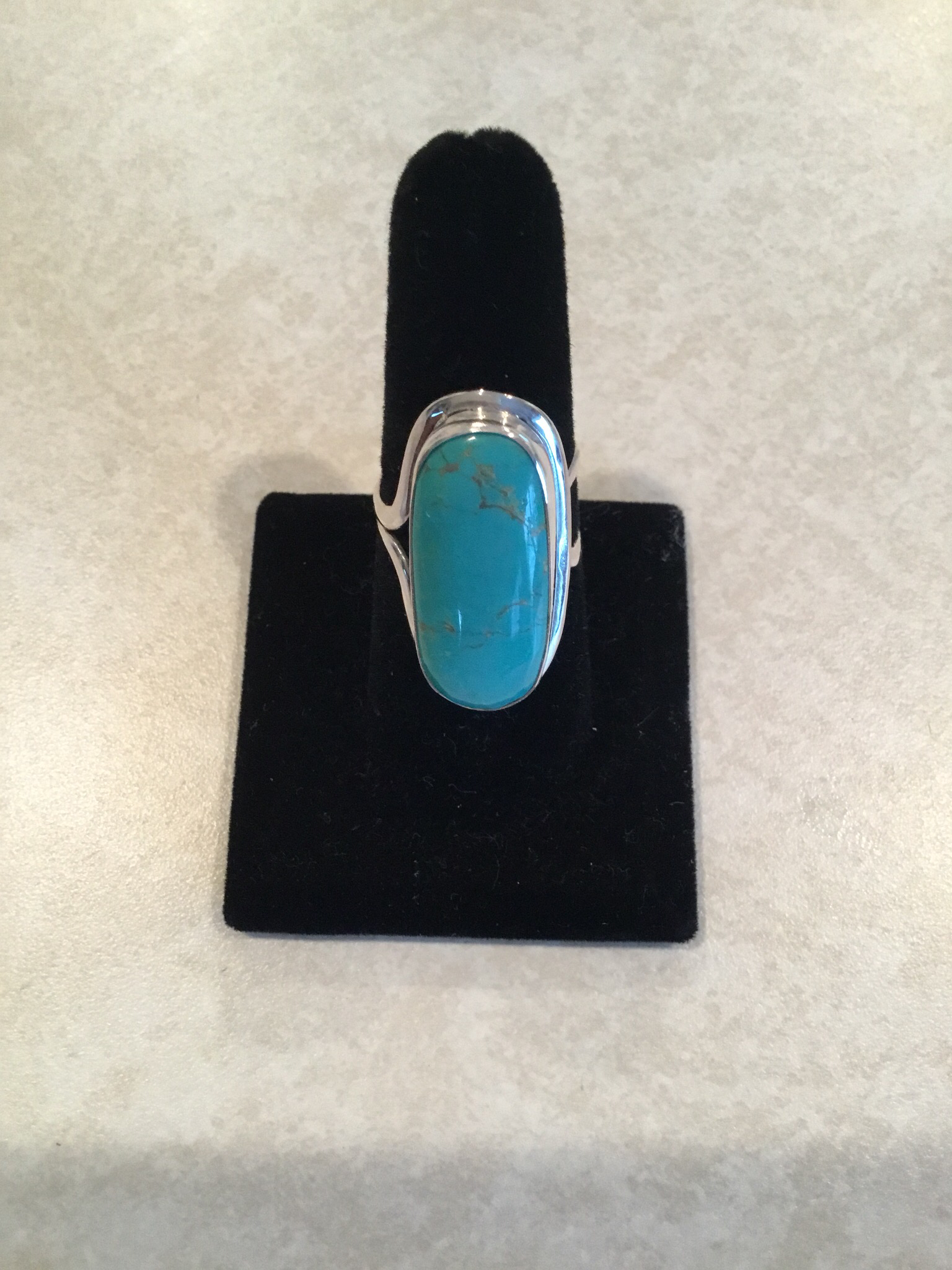 Sterling Silver Long Oval Turquoise Ring ACC-Turq-1