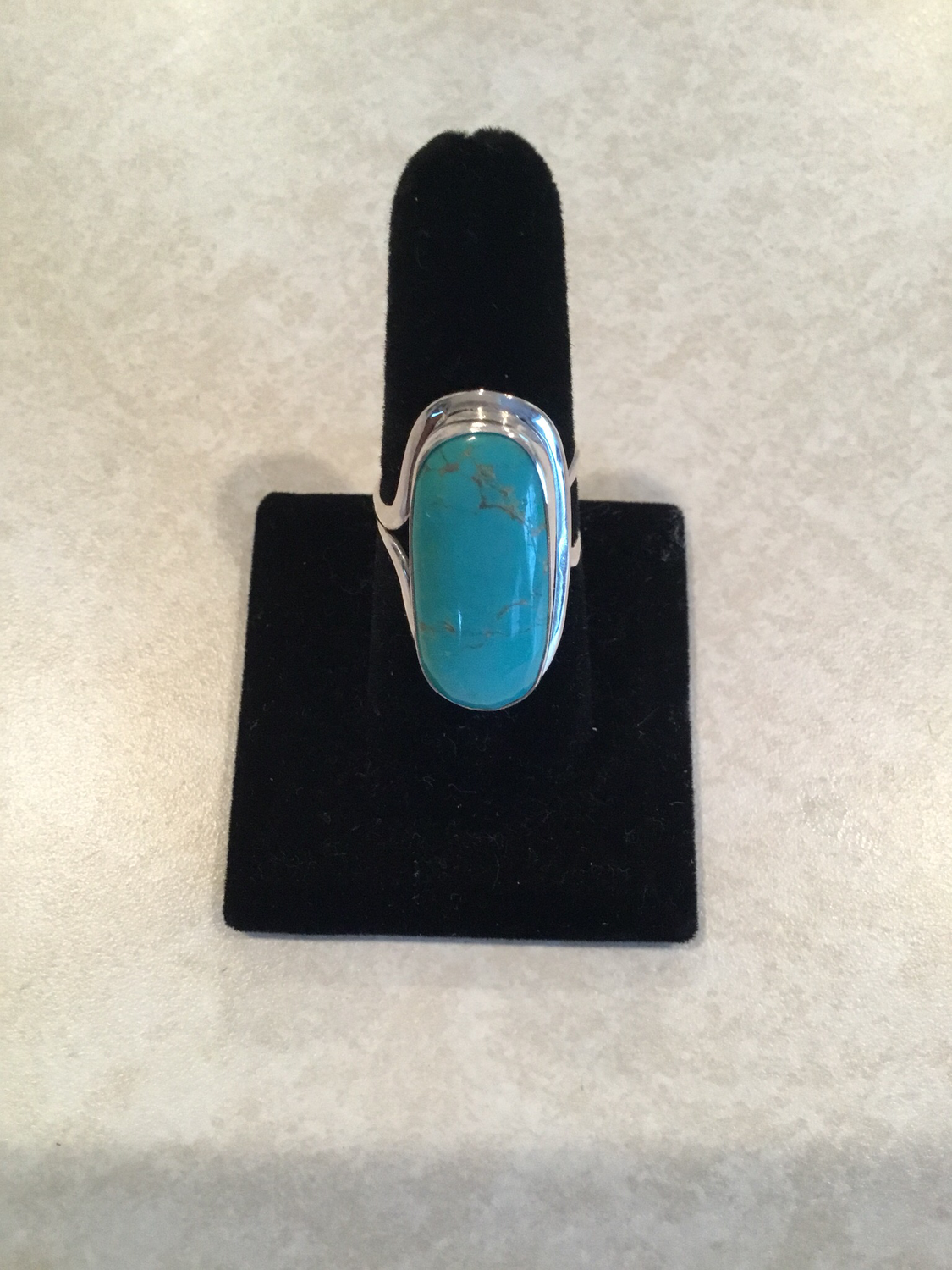 Sterling Silver Long Oval Turquoise Ring