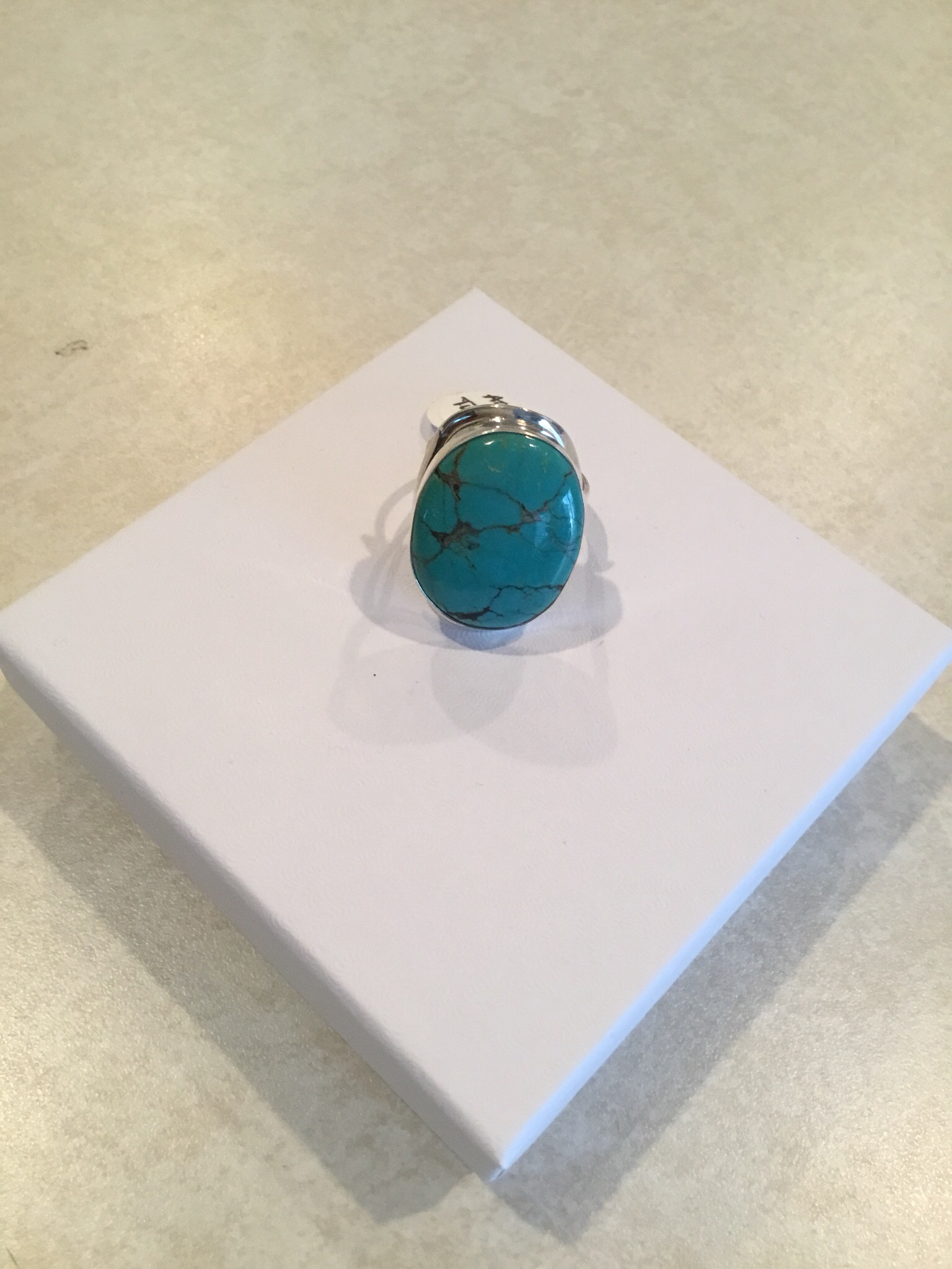 Sterling Silver Handmade Large Round Blue Turquoise Ring ACC-Turq-3